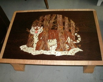 Custom-built, maple & weng, art table w/ tiger image, signed by artist