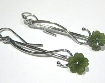 jade earrings -flower-