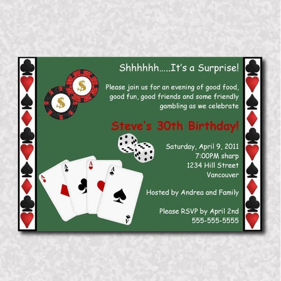 poker party dresscode invitations