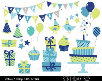 Boy Birthday Clipart, Blue Birthday Digital Clip Art, Bunting Clipart, Birthday Party, Cake - Commercial & Personal - BUY 2 GET 1 FREE!