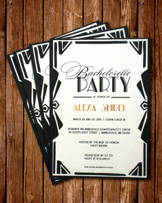 Printable Great Gatsby Bachelorette Invitation