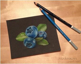 "Original Soft Pastel drawing. BLUEBERRIES on gray. 5""x7""."