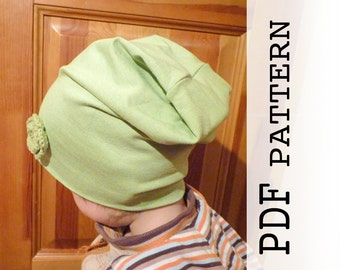 Kids slouch beanie pattern, PDF sewing pattern, Baby hat, Hat pattern for Kids, Kid's Child's Slouchy Hat, Easy sewing pattern