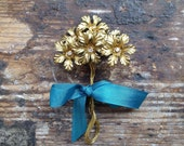 Vintage Gold Flowers with Rhinestone Centres