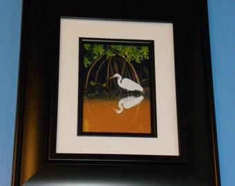Stalking White Egret in Murky Water Mangroves
