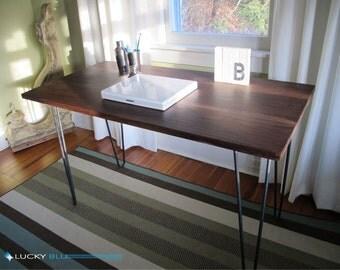 Mid Century Modern Desk, Walnut Desk , Steel Hairpin legs