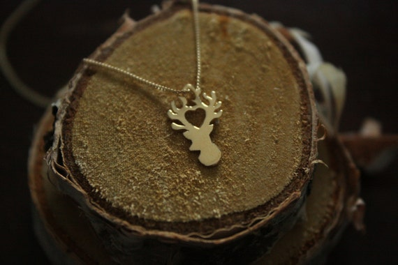 "Recycled Sterling Silver Stag Necklace Made in NYC- 16"" Chain"