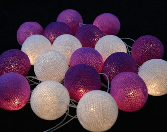 White,Orchid,Purple Cotton Ball String Lights Fairy lights Party