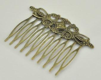 Metal Hair Comb Antique Bronze Hair Clip Blank Hair Pins Barrette Filigree Hair Findings,Qty: 20pcs