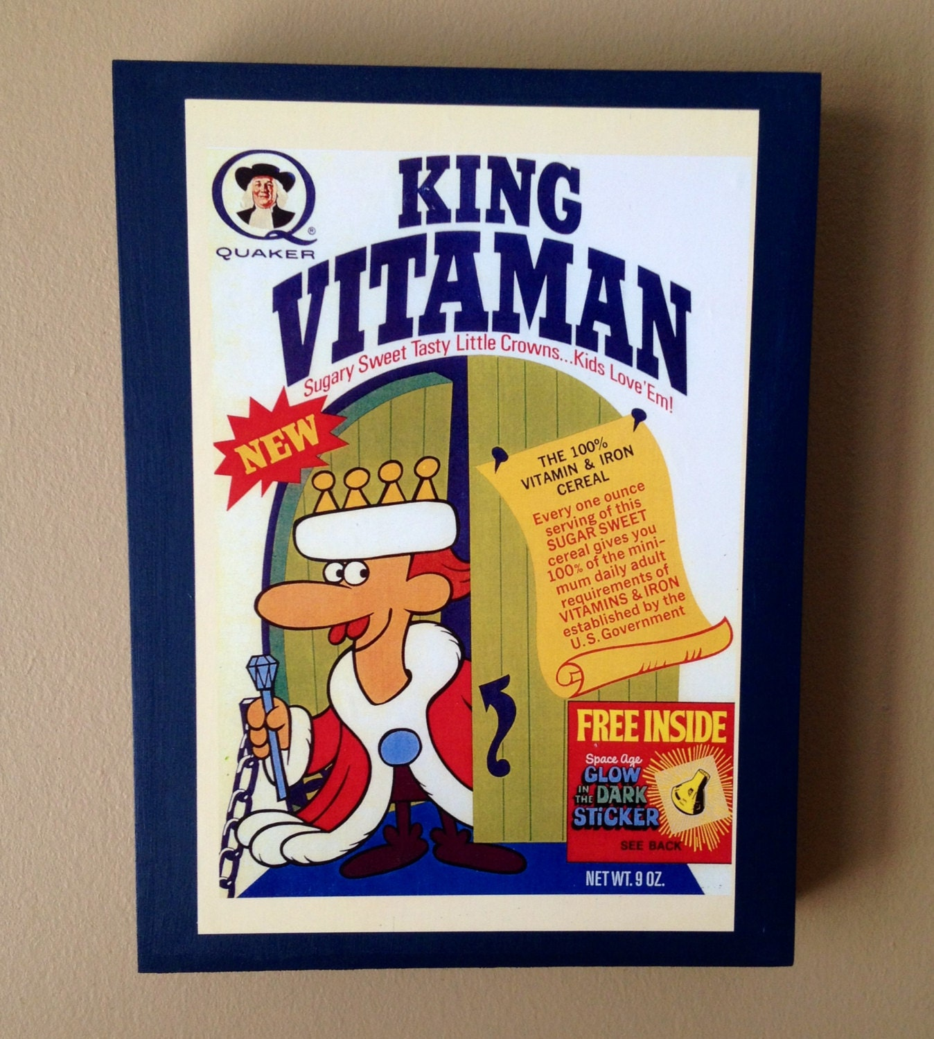 Retro King Vitamin Cereal Box Art Wooden Panel By Bookrescue