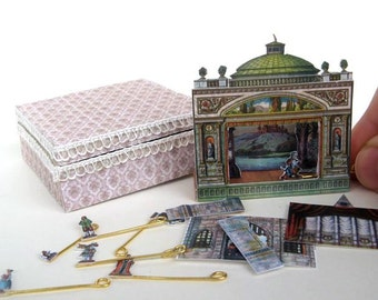 Miniature antique (vintage) paper theater - dollhouse miniature