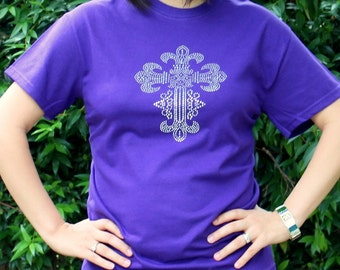 RHINESTONE CROSS Christian T-shirt  -  MORE Colors!!!