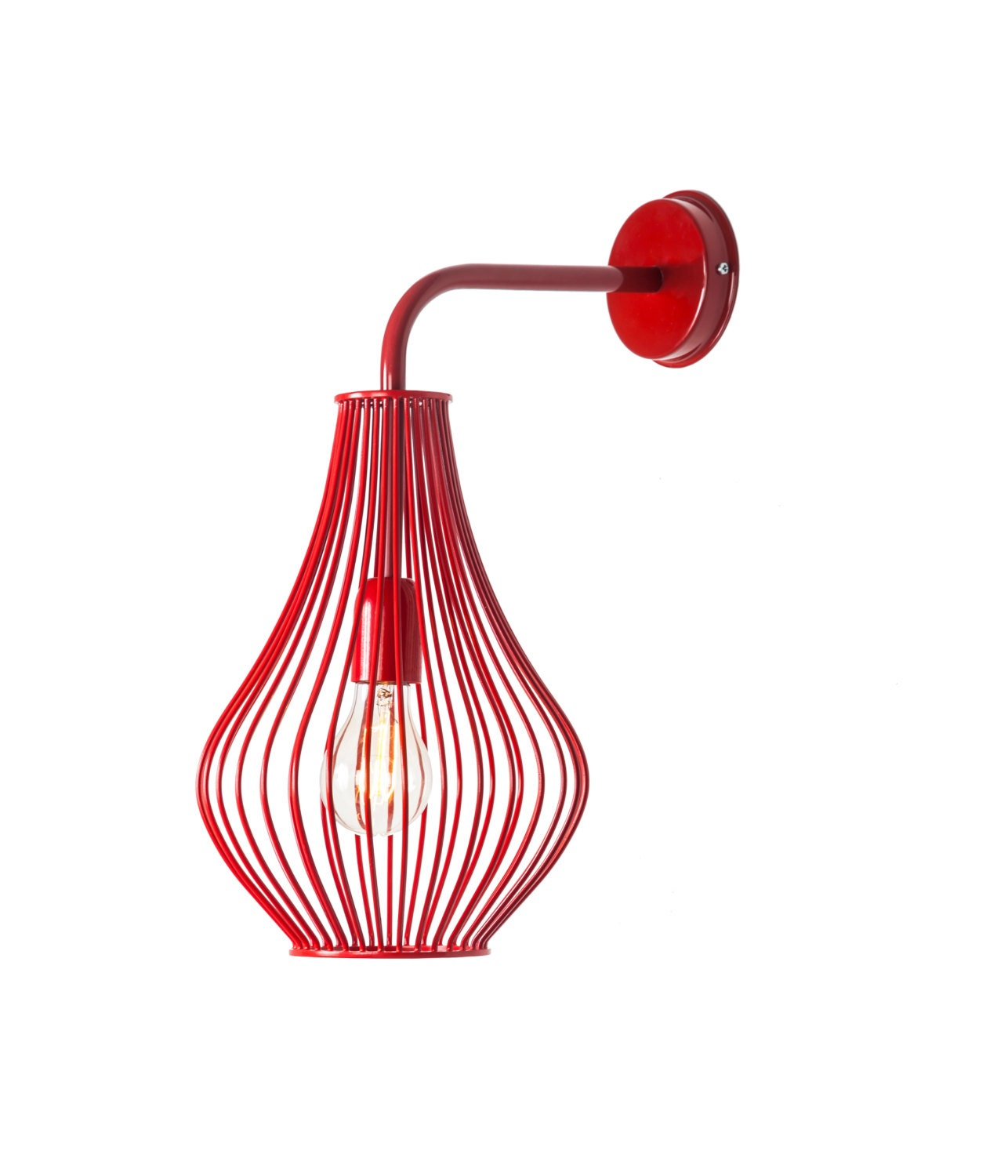 Wall Lamp With Electrical Cord : Red wire wall lamp lighting fixture size 38X49 cm option to