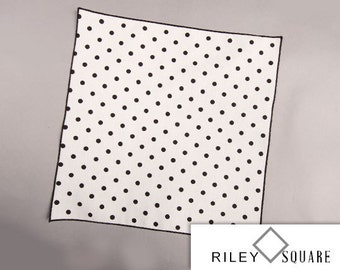Black Polka Dot Pocket Square/Black Polka Dots on White/Wedding Handkerchief/Fashion Accessories