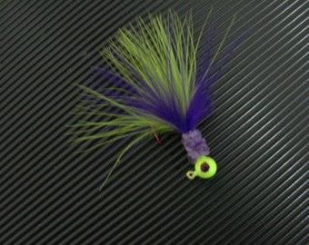 A Chartreuse and Purple Crappie Jig.  Color # M37 Purple Pickle - FREE SHIPPING