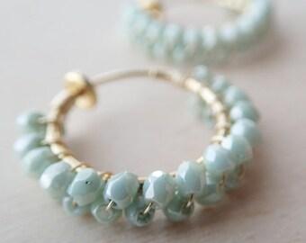 Czech beads Hoop Earrings / / Olive Green  Hoop Earrings / /  Hoop Earrings