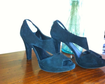SALE - Black Suede Shoes - Size 6