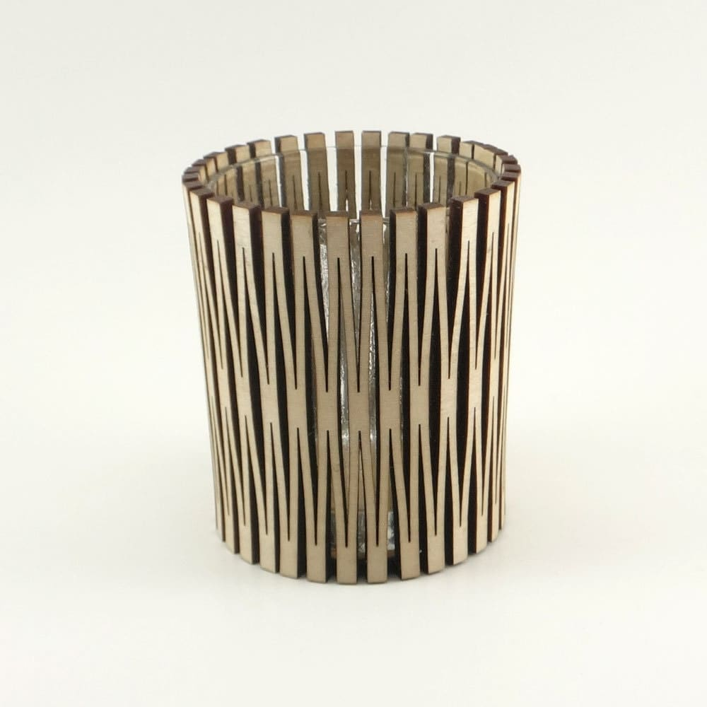Modern Wood Candle Holder With Living Hinge Design By