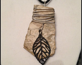 Indian Autumn Slate Wire Wrapped Upcycled Leaf Charm Statement Necklace, Natural Slate Pendant