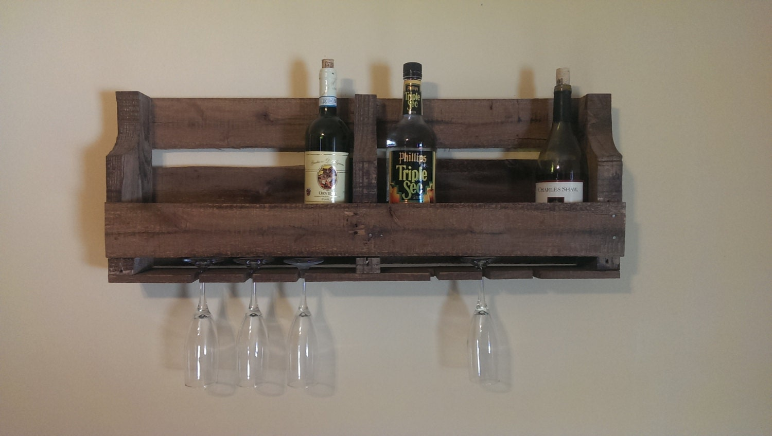 Pallet Rustic Wine Rack With Glass Holder By
