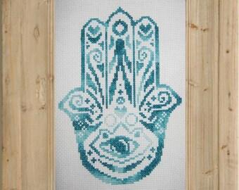 Hamsa Hand / Hand of Mary Cross Stitch Pattern