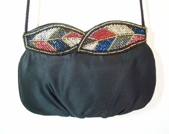 Vintage Black Evening Bag with Beaded Accents
