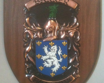 Your Family Coat of Arms on a Mahogany Plaque Made To Order!