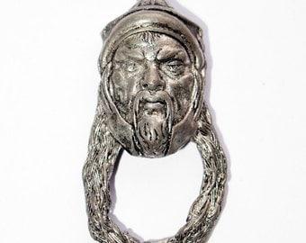 Vintage White Metal Asian Man Pendant 5848