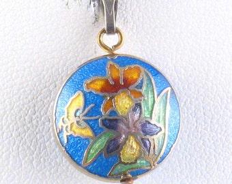 Vintage Double Sided Blue Enamel Flower Pendant