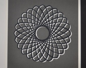 Original handmade paper cut triptych of geometric pattern. White grey and black archival paper, hypotrochoid.