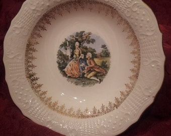 Antique Vogue 22K Gold Washington Colonial Courting Couple Bowl made in USA