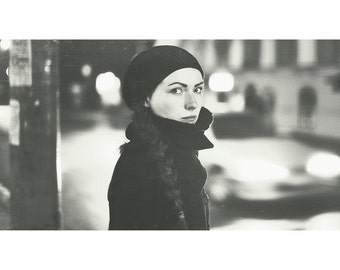 Budapest 3, original fine art photography, print, urban, portrait, 8x12, hungary, black and white, street, monochrome, girl, beauty, lady