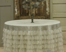 Couture Dreams Chichi Ivory Shimmer Tablecloth, Tulle and ivory shimmer tablecloth, wedding tablecloth