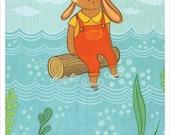 RABBIT art print by Susie Ghahremani, driftwood log art cute rabbit artwork, nursery art print