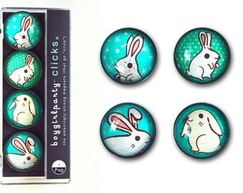 Rabbit Magnets / Bunny Magnets - cute dorm decor back to school magnets for locker / dorm