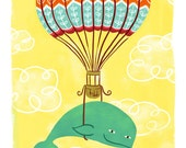 WHALE ADVENTURE Printable Art print poster Instant Download Digital Children Kids Nursery Illustration Artwork Hot Air Balloon Animals