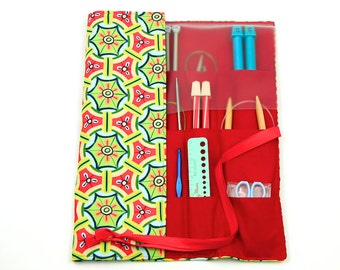 Knitting Needle Case - Misaki - IN STOCK multi 30 red pockets for straights, circulars and double pointed needles