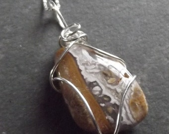 Unique Light Brown Wire Wrapped Sterling Necklace Pendant