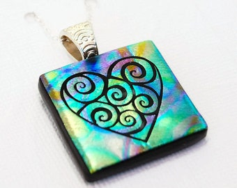 Heart Swirl Pendant, Fused Glass Pendant, Dichroic Glass, Pendant, Etched Glass