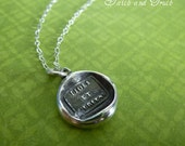 Faith and truth wax seal necklace... wax seal jewelry in silver - 326