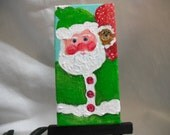 Santa Claus painting, Santa with monkey in toy bag, Acrylic Canvas Art , Easel, 2 x 4, Holiday decor