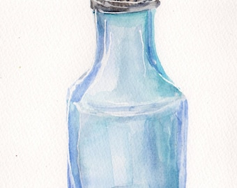 Vinegar glass shaker watercolor painting original, culinary art,  5 x 7, Culinary watercolor, kitchen wall art