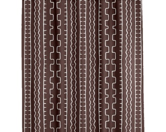 Bathroom shower Curtains Custom    African Mudcloth Shower Curtain in Brown - More Colors  Long Shower Curtain