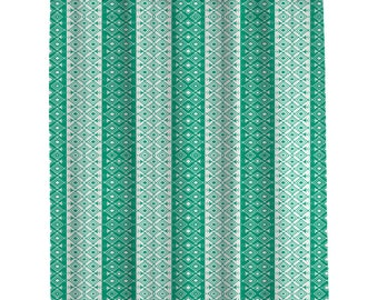 Bathroom shower Curtains Custom    Moroccan Shower Curtain Emerald Green and Ivory   (107)  Long Shower Curtain