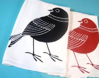 Bird Tea Towel - Red Kitchen Towels - Scandinavian design- CUTE Birds prints Screen Print Red Decor Eco Friendly Gifts Dish Cloth