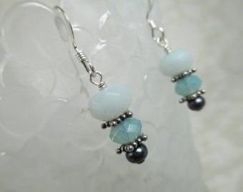 Amazonite, Pacific Blue Opal Swarovski Crystal, and Peacock Pearl Kitser Earrings