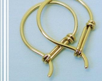 14k Gold Hoop Earrings, Solid Gold, Earring Hoops, Everyday Earrings