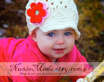 Baby Girls Hat 0-3 Months, Girl Hat, Crochet Hat, Newsboy, Baby Hat, Child Hat, Flower Beanie with Brim, fall hat, winter hat with flowers