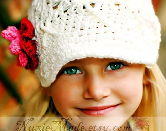 Girls White Newsboy Hat with Flowers 2T-4T,  Crochet Newsboy Hat, Newsboy Hat  with Flowers, White Hat with Flowers, White Toddler Hat, Hat