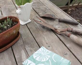 celadon blue lilypads linen towel